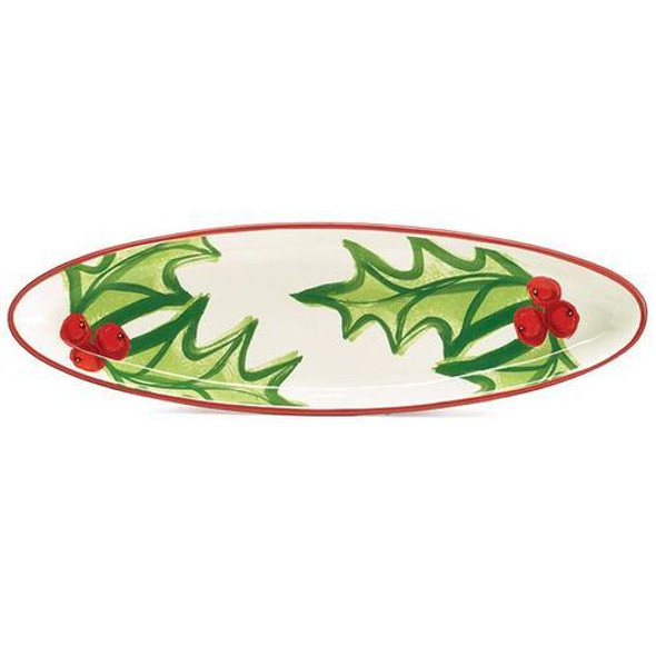 """Dishwasher safe/FDA approved/Microwave safe.Just the right size for bread cheese and crackers.  Skinny white oval shaped tray with large holly leaves and red berries. Individually boxed.  1 1/4"""" H x 17"""" W x 5 1/4"""" D  1 set of 2"""