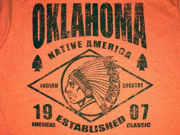 Orange Oklahoma T-Shirt Vintage Native America T-Shirts The Nut House