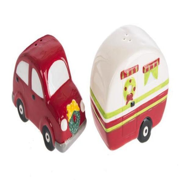"Holiday Salt & Pepper - Car & Camper (1 pair) Handwash only Dimensions: 13/4"" W. x 33/8"" L. x 23/8"" H."