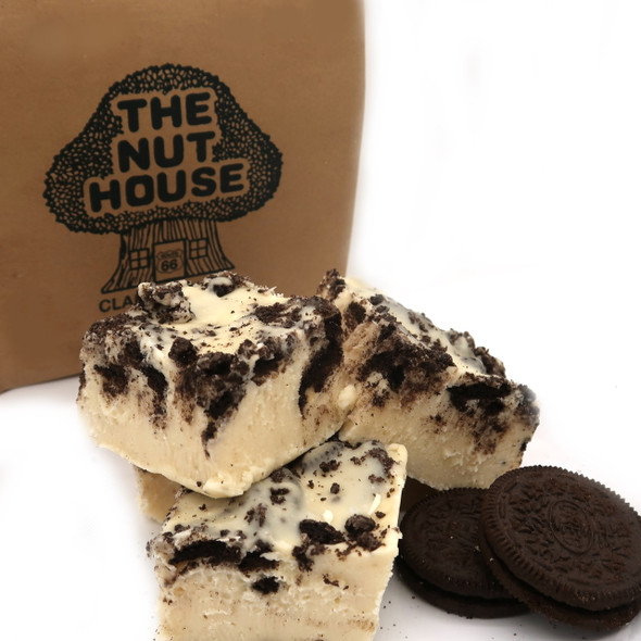 Vanilla cream fudge with Oreo cookie chunks and cookie sprinkles on top!
