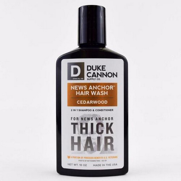 A man with a head of thick, healthy hair does not need a motivational quote to start the day. Duke Cannon's News Anchor Cedarwood 2-in-1 Hair Wash is formulated with premium ingredients for hard-working men whose hair commands the respect of others. The unique scent combines cedar, sandalwood, and spices, temporarily turning your noggin into the best smelling place on Earth.  - Protein for strength - Larch Tree Extract for superior hydration  - Tea Tree Oil and Menthol to wake you up - No harsh parabens For the man whose hair commands the respect of others, there is no substitute. News Anchor Cedarwood Hair Wash. Your hair is a weapon.