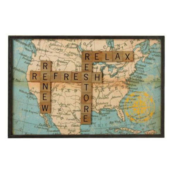 """Dimensions: 23"""" L. x 1.125"""" W. x 15"""" H. x 1.250 lb. Wood framed print with scrabble tile dimensional accents."""