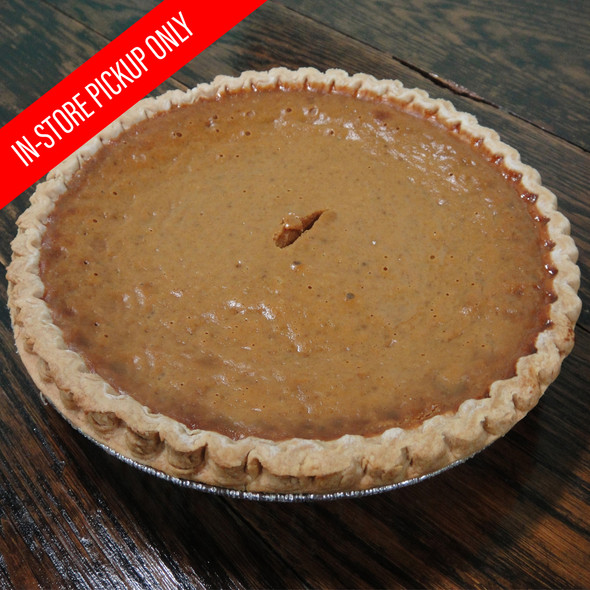"""Treat your family and friends to our fresh baked Pumpkin pies. Our delicious Pumpkin pies are in a 9"""" deep dish and baked to order. Please allow 24 hours. Local pickup only."""