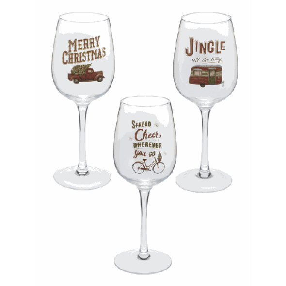 """Gift boxed full sized wine glass in cylindrical box with holiday travel sayings   Please choose between truck, camper or bicycle designs.  9.5 x 4 diameter .48 lbs. Dimensions: 3"""" Dia. x 9"""" H."""