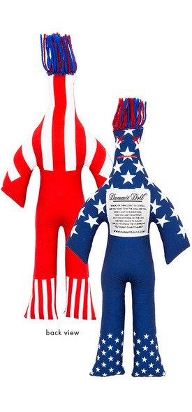 """Dammit Doll reads: """"Whenever things don't go so well, and you want to hit the wall and yell, here's a little dammit dolll, that you can't do without.  Just grasp it firmly by the legs and find a place to slam it.  And as you whack the stuffing out yell dammit dammit dammit!""""  Roughly 12 inches tall."""