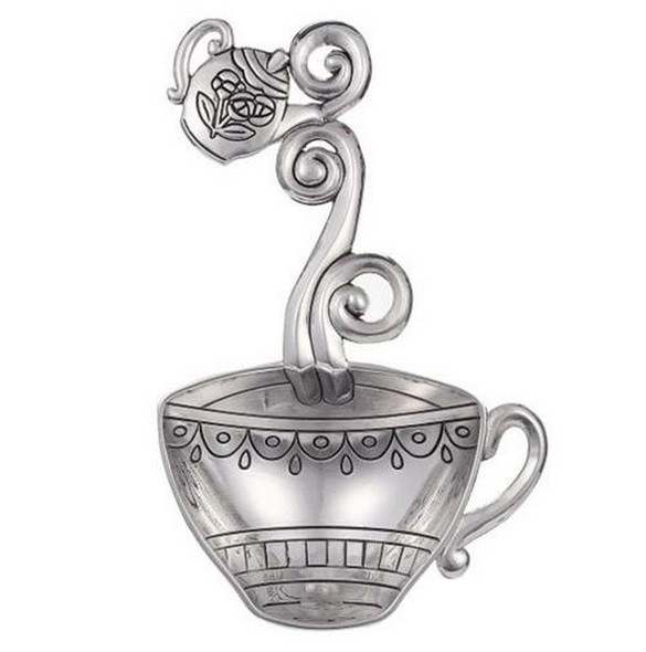 "These Teacup Everything Spoons can be used as a Teabag Holder, or as a small decorative scoop. They have beautiful detailing. This spoon features a Teacup design for the scoop and a Teapot on the handle. Everything Spoons are great to keep on hand for Hostess Gifts. SIZE: Approximately 2 1/4"" W. x 4 5/8"" L. Made of Sturdy Zinc Multi purpose spoon that can be used as a teabag holder, or 1 tablespoon measuring spoon"
