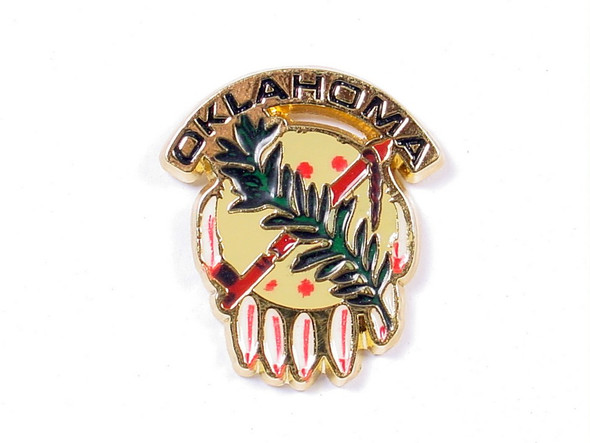 "Full color Osage shield cloisonne lapel pin is about 1"" across."