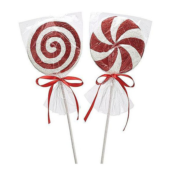 """Assorted foam peppermint picks in clear wrappers.   Sold individually.  Dimensions: 5"""" H x 5"""" W x 3/4"""" D. 18 1/4"""" tall."""