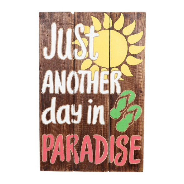 Brighten up any room with this hand carved paradise sign! Wood pallet sign features hand carved detail with tropical sentiments and bright colors.