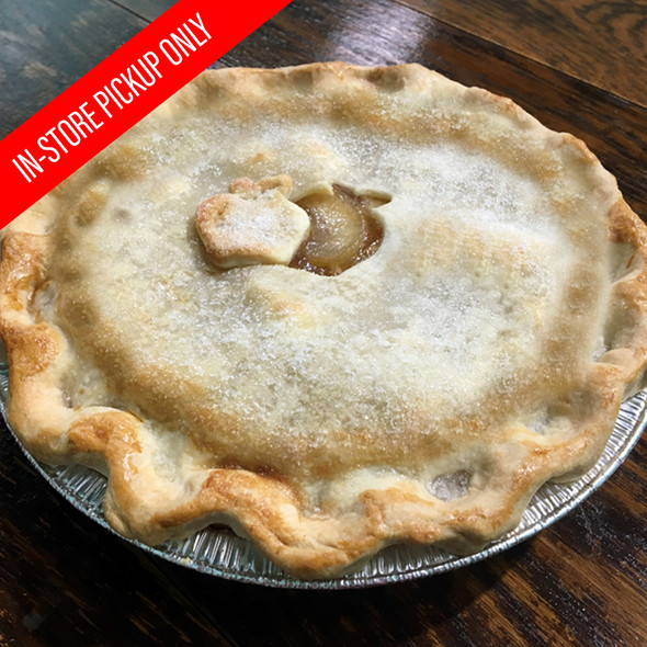 "Treat your family and friends to our fresh baked Apple pies. Our delicious Apple pies are in a 9"" deep dish and baked to order. Please allow 24 hours.  Local pickup only."