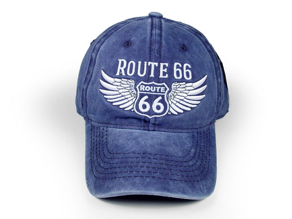 Denim washed cap with winged RT 66 shield and indigo