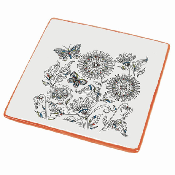 """Great for serving cheese and crackers to an impromptu guest, or just display on an easel in the sunroom or kitchen. Beautiful ink outline of florals and butterflies with select portions colored. Tangerine bordered 8"""" plate."""