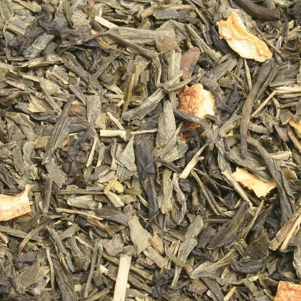 Coconut flavored loose leaf green tea: think of coconut drinks on the beach. 1.6 oz