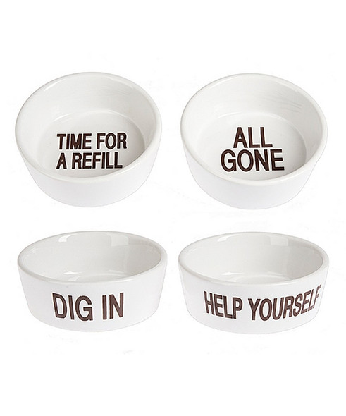 "Choose between four assorted designs: ""All gone"" ""Time for a refill"" ""Dig in"" and ""Help Yourself"".  Sold individually."