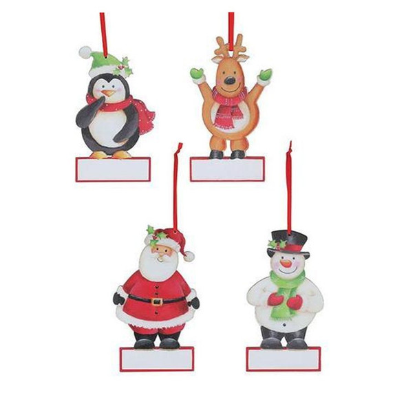 """Wood Christmas character ornament assortment with place for personalization. Reindeer, Santa, Snowman, and a Penguin. Hanging by red ribbon hanger.  Sold individually. 5 1/2""""H X 4""""W, 5 3/4""""H X 4""""W, and 6""""H X 4""""W"""