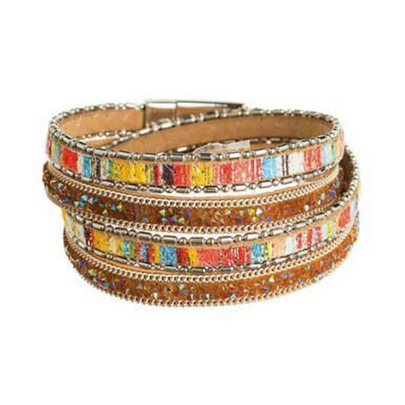 Silver Chain Bright & Fun Colorful Fabric with Aurora Borealis Crushed Crystals Faux Leather Wrap Magnetic Bracelet