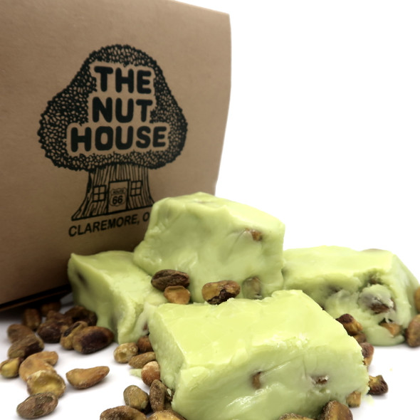 This creamy, light green fudge, is packed with pistachios and filled with flavor. A customer favorite!