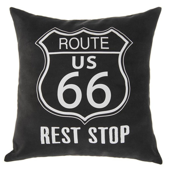 """""""Route 66 Rest Stop"""" pillow print with removable cover; insert with loose fill polyester.  Measures 16"""" x 16"""""""