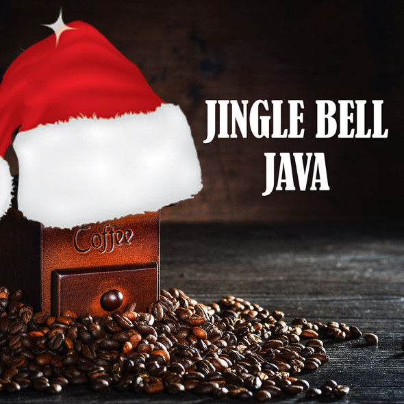 Jingle Bell Java flavored coffee beans: a festive caramel and hazelnut combination.