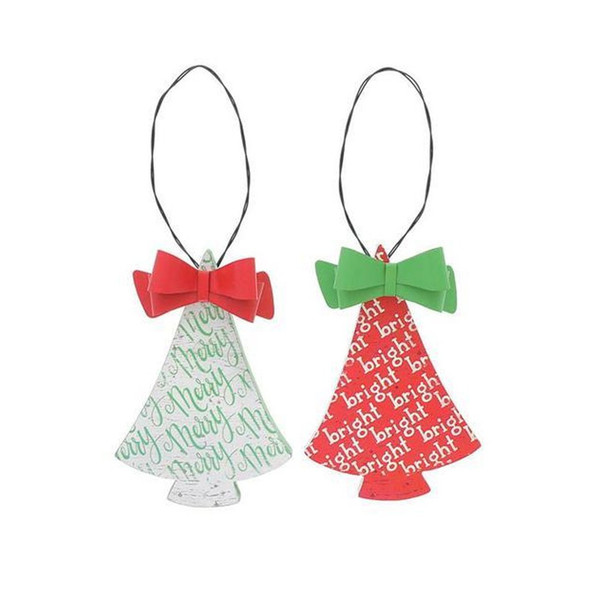 """Christmas tree shaped ornament assortment with tin bows. Two assorted styles: Red tree with bright message repeated all over and green tin bow. Green tree with merry message repeated all over and red tin bow. Made of decoupage wood, tin bow with a wire hanger. 5 1/2"""" H x 3 1/2"""" W x 3/4"""" D 9"""" tall hanging.  Sold individually."""