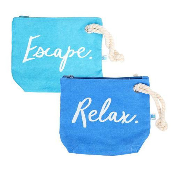 The ultimate clutch for summertime! Cotton pouch features 'escape' and 'relax' sentiments with zipper enclosure and rope handle. 2 assorted styles.  Sold individually.