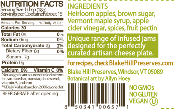 Heirloom Apples with Maple Syrup Jam Nutritional Information