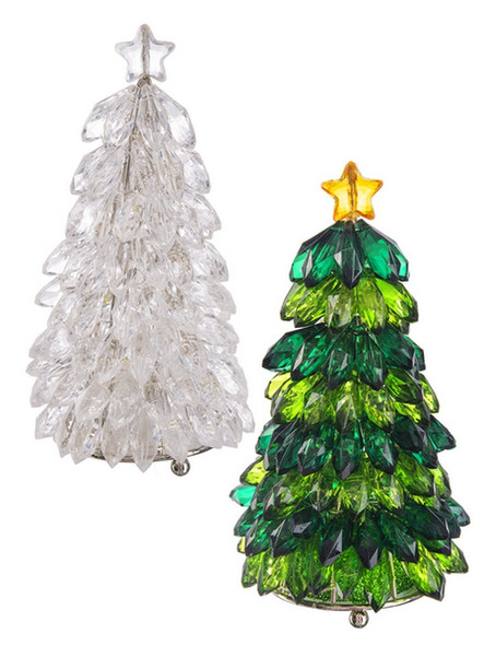 """Light Up; 3 Button Cell Batteries Included.  Layers of colored or clear crystals build these christmas trees. Dimensions: 5 1/2""""H  Each sold individually."""