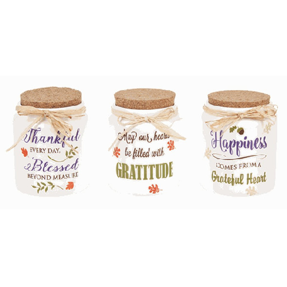 "Fall Blessings Jars Handwash only. Not intended for use with food.  Sold individually.  Dimensions: 4"" Dia. x 41/2"" H."