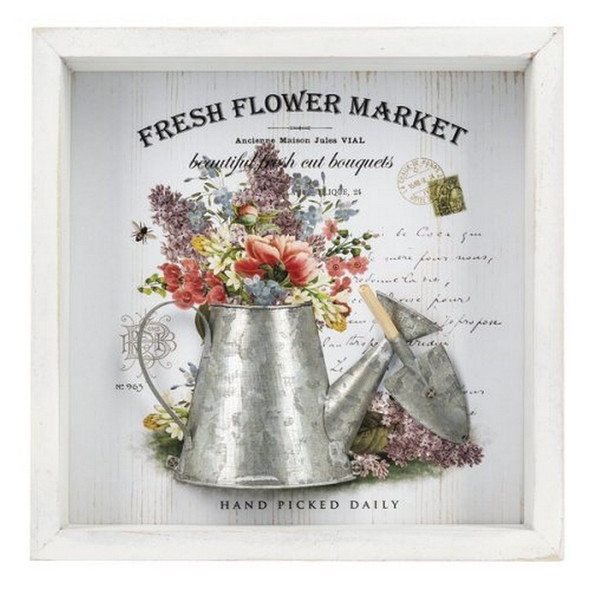 """This lovely, wooden hanging shadow box has a floral backdrop.  Dimensions: 2"""" H. x 8"""" Sq."""