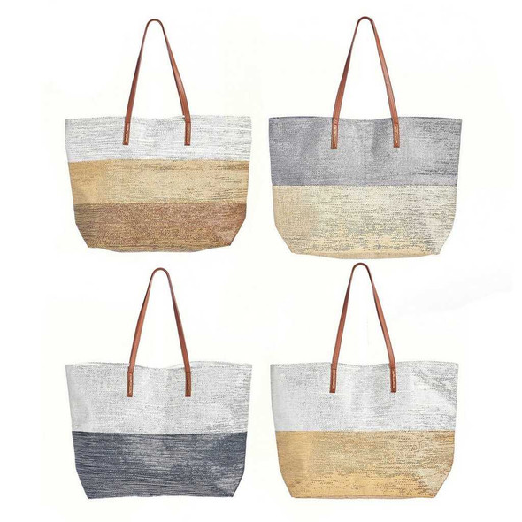 Gold and White Metallic Color Block Tote Purses Totes and Bags The Nut House
