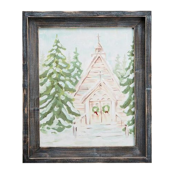 Remember the still beauty of the quiet moments of Christmas with this small framed church canvas.