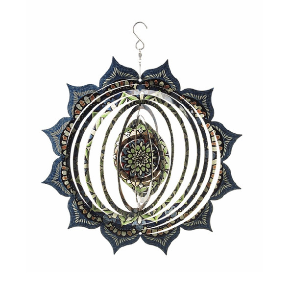 "Stainless steel Mandala Hanging Spinner will not rust out in the porch or garden. Colorful Bohemian Pattern. 12"" in diameter with hook for hanging."