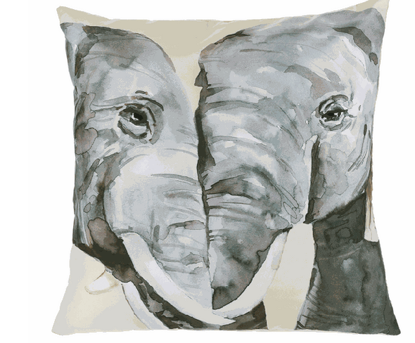 """16"""" square pillow with watercolor elephant design"""
