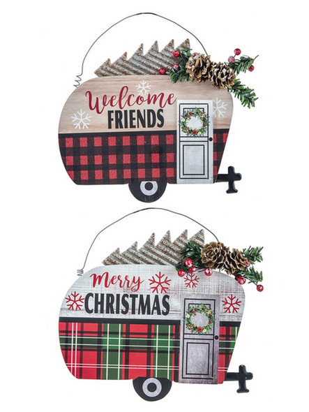 """Welcome Friends"" camper with Buffalo Check or ""Merry Christmas"" with red and green plaid. Both feature galvanized metal and faux pine accents. 8""W. x 7 3/4""H. x 3/8""D  Each sold individually."