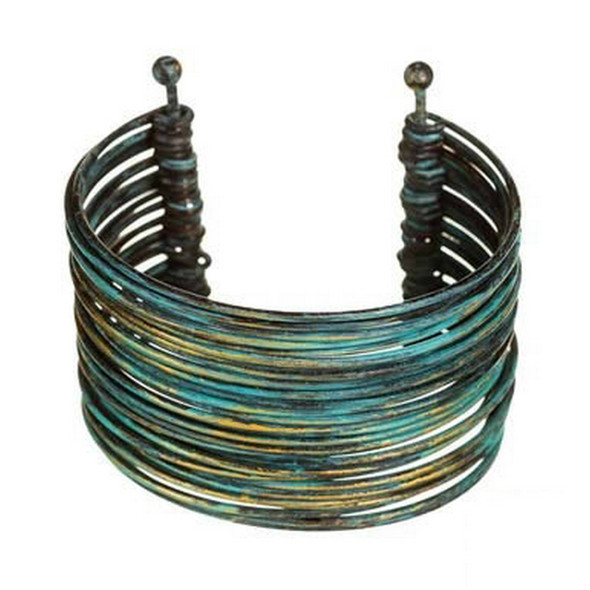 Two posts anchor this verdigris colored cuff bracelet which has multiple strands of wire formed between.