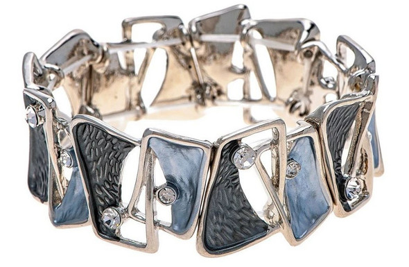 Shiny Silver Edge with Grey and Black Enamel Clear Crystal Accent Abstract Squares Stretch Bracelet