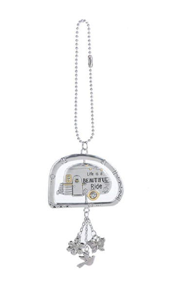 "The car charm is double sided: the design is on both sides. The total length of the car charm, including the small dangle charms, is approximately 3.75 inches. The ball chain's total length is 7"" long, and it is 3.25"" long when clasped."