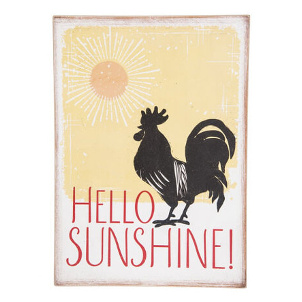 """Perky rooster welcomes the sun and you with a retro design. Perfect for kitchen or sun room. 10"""" W. x 2"""" D. x 14""""H Box plaque with single hook for hanging."""