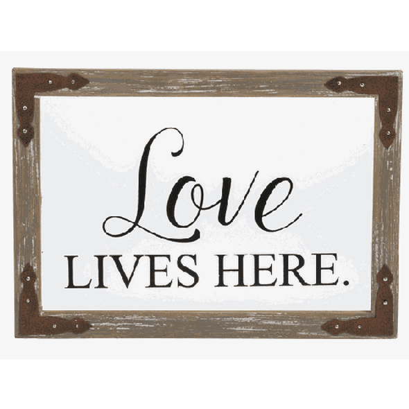 """Decorate any wall in your home with our Love Lives Here Frame, Wall Art. Dimensions: 10"""" W. x 7"""" H."""