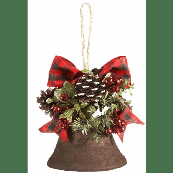 """7"""" x 4"""" rusty cloche bell ornament with Boston check ribbon , pine cones and glittery mistletoe accent  .36lb Dimensions: 5"""""""