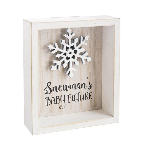 """Framed shadowbox with dimensional snowflake 5"""" W x 6"""" H x 1"""" D"""