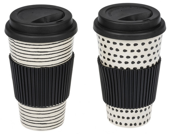 """Black and white travel mug has an insulated silicone lid and sleeve. Mug is dishwasher safe, do not use in microwave. 5 3/4"""" tall."""
