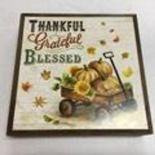 "8"" SQUARE lighted plaque with vintage design of pumpkins in a wagon, ""Thankful Grateful Blessed"""
