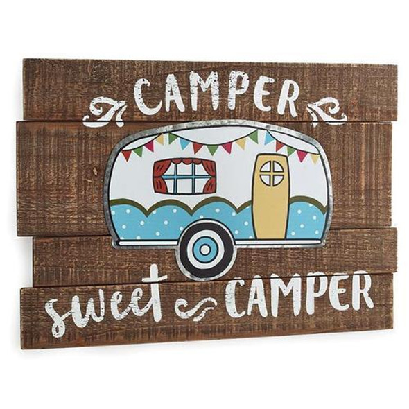 """Wooden plank sign that has a hand painted camper with tin accents and a message saying """"Camper sweet camper"""". 13 3/4"""" H x 19 3/4"""" W"""