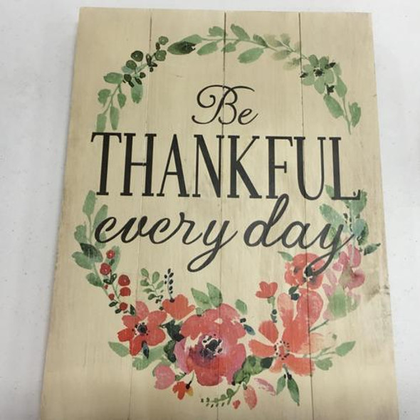 "Watercolor flowers on a wood sign remind us to be thankful for blessings.  13 3//4"" H x 10 1/2 "" W x 1/2"" D"