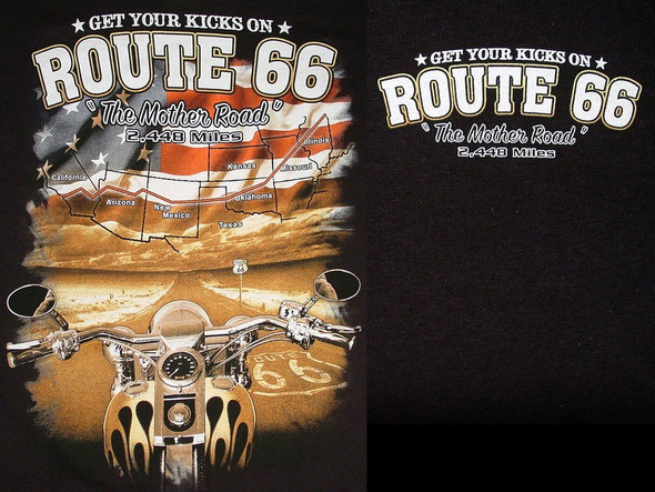 Black Route 66 T-Shirt Motorcycle Map Flag Design