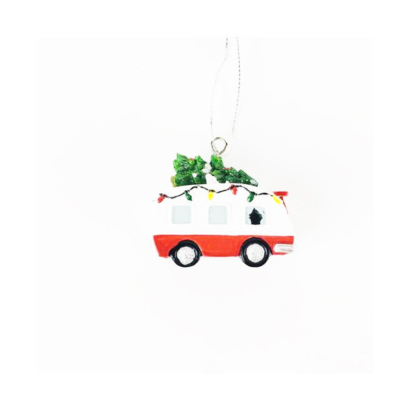 """Small RV Ornament with tons of detail. Christmas tree on top and mini lights on a red and white teardrop camper.  1 3/4""""W x 1"""" H x 3/4""""D"""