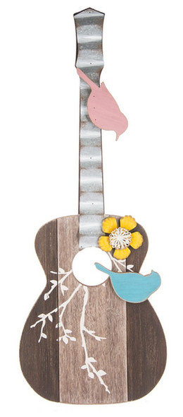 Guitar With Birds Wall Plaque