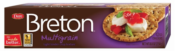 Indulge in the perfectly blended, multigrain taste of 15 wholesome grains and seeds in these Breton crackers that contain 8 g of whole grains per serving. Your whole family will just love this Breton for its unique, tender-crisp texture and the goodness of whole grains! 0 G OF TRANS FAT PER SERVING 8 G OF WHOLE GRAINS PER SERVING NO ARTIFICIAL FLAVOURS Enriched flour (wheat flour, niacin, reduced iron, thiamine mononitrate, riboflavin, folic acid),vegetable oil shortening (coconut, palm and canola oil with TBHQ and citric acid to protectflavor), whole wheat flour, wheat meal, sugar, ten grain blend (purple wheat, triticale, malted redwheat, barley, spelt, kamut wheat, millet, wild rice, quinoa), salt, malt syrup, leavening(ammonium bicarbonate, baking soda), contains 2% or less of: skim milk, sesame seeds, naturalflavor, sunflower seeds, hydrolysed soy protein, autolysed yeast, spices, paprika color, sodiummetabisulphite, enzymes.