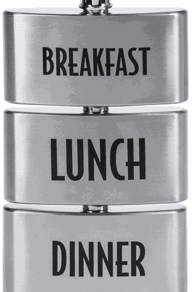 """Get your three squares a day with this stainless steel """"meal replacement"""" flask. Each mini flask holds 3 ounces of your favorite beverage."""
